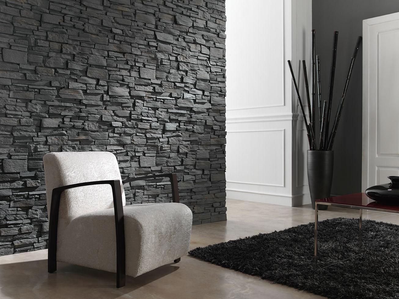 Muros sinteticos decorativos realizados con panel piedra - Revestimiento paredes interiores pizarra ...
